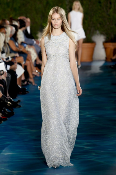 1bd38c720a9 A model displays a beautiful maxi dress from the spring collection of Tory  Burch. Maxi