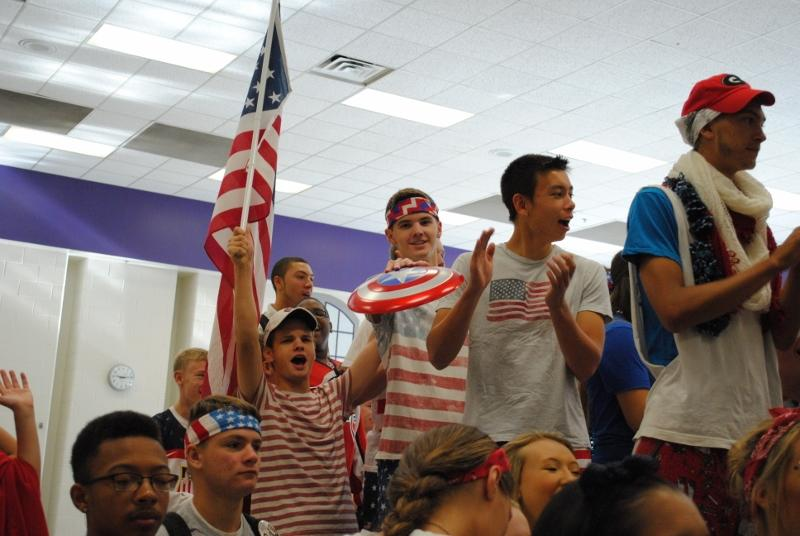 Juniors Jay Gallagher and Jonathan Weese get pumped for USA Day.